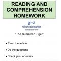 Reading - The Sumatran Tiger