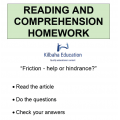 Reading - Friction - help or hindrance