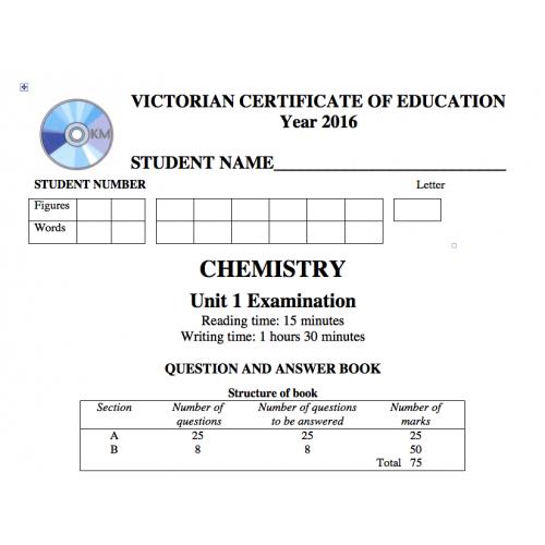 VCE Chemistry Exam Unit 1