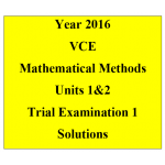 VCE Mathematical Methods Units 1 and 2 - Exam 1 (technology free)