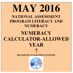 Year 7 May 2016 Numeracy Calculator - Answers