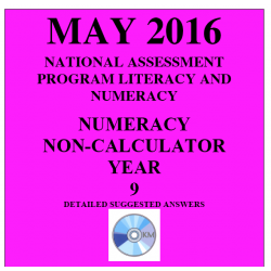 Year 9 May 2016 Numeracy Non-Calculator - Answers