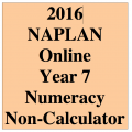 2016 Y7 Numeracy Non-Calculator - Online