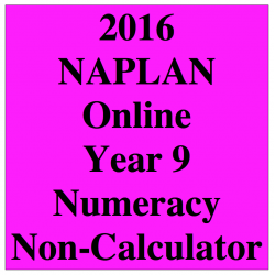 2016 Y9 Numeracy Non-Calculator - Online